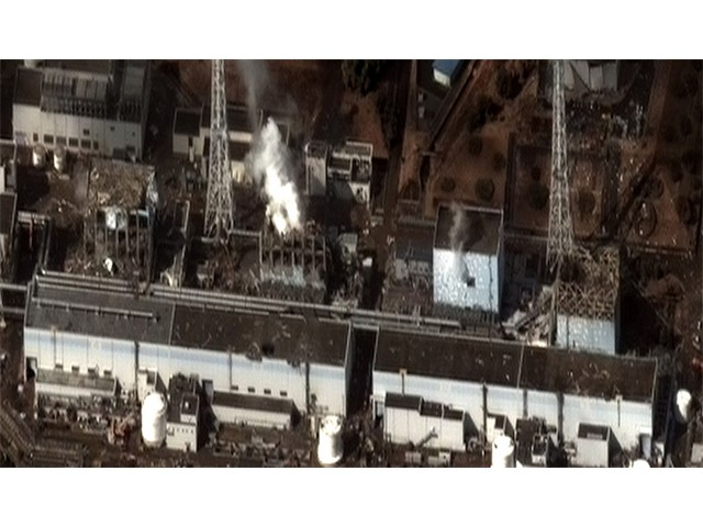 Fukushima nuclear power plant, Japan 2011, where several reactors exploded after a huge earthquake and tsunami. Most of the radioactive pollution went into the Pacific Ocean [Digital Globe]