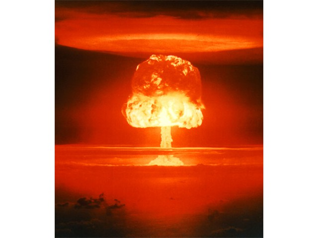H-bomb test at Bikini atoll, 1954. Hydrogen bombs are the most terrible weapons ever and also create massive radioactive pollution [US Department of Energy]
