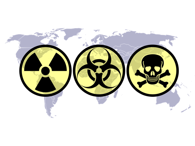 War causes terrible suffering and pollution. WMD (Weapons of Mass Destruction) symbols: nuclear, biological and chemical [Licensed under CC BY-SA 3.0]